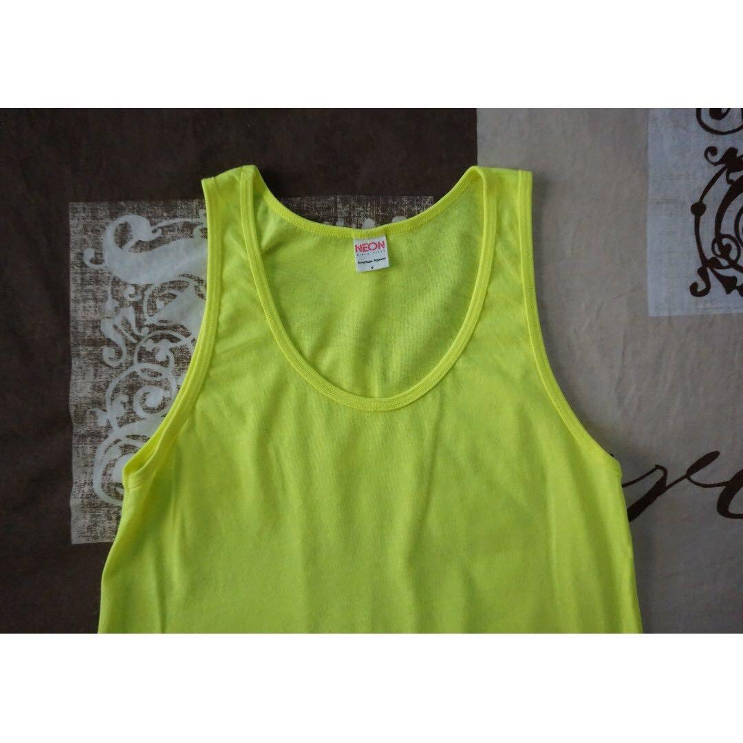 American Apparel Poly-Cotton Neon Yellow Tank Top Size Small RRP $30.00