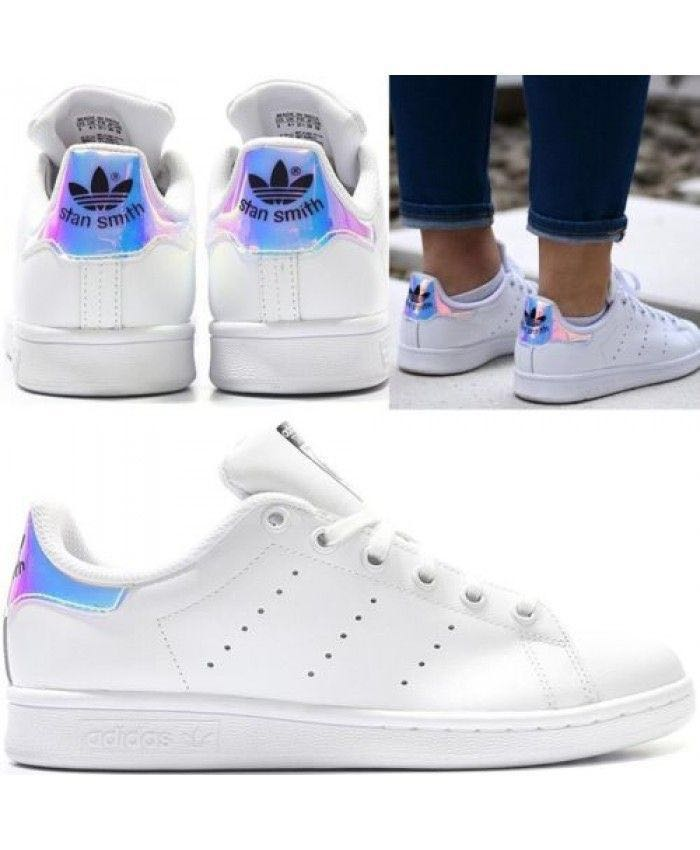 huge selection of 5f6b3 73099 AUTHENTIC Adidas Stan Smith GS White Iridescent, Womens Fash