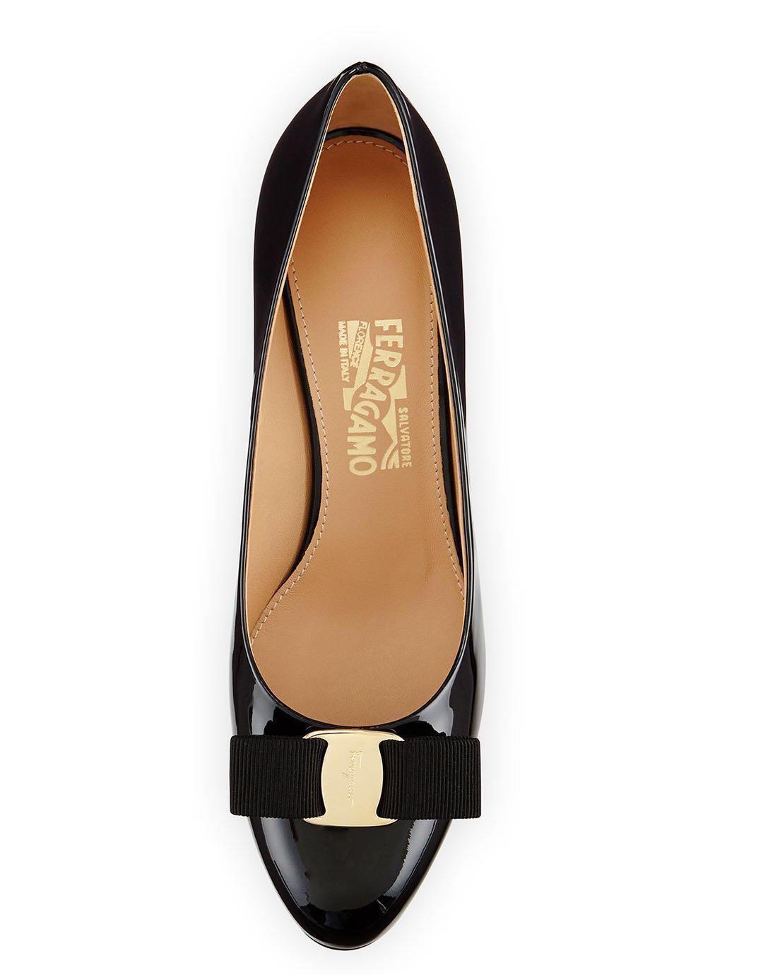 bc0d091da4c2 Authentic Salvatore Ferragamo Mirabel Black Patent Wedge Heels ...