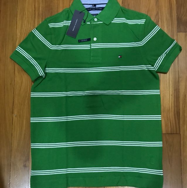 2394570d Brand New Authentic Tommy Hilfiger Green Striped Polo Small, Men's ...
