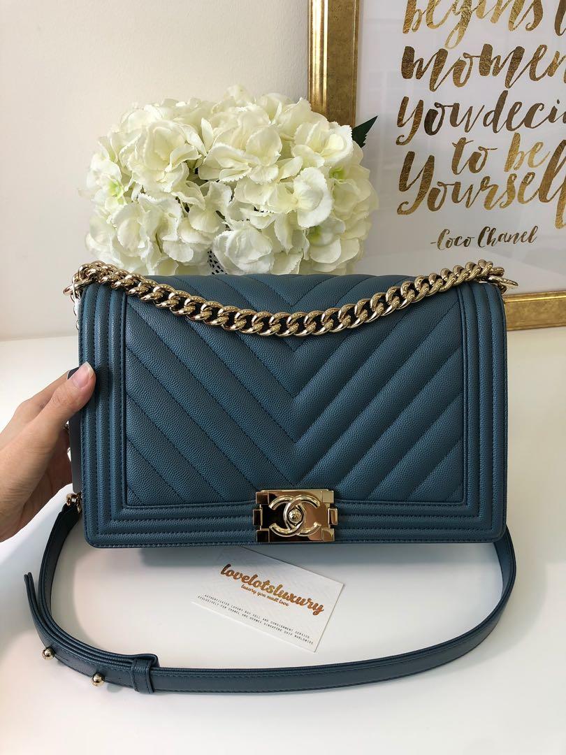 0ba508a81253 Chanel Classic Quilted New Medium Boy Ash Blue Caviar Shiny GHW ...