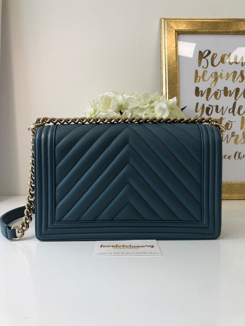 0fe47786d07a Chanel Classic Quilted New Medium Boy Ash Blue Caviar Shiny GHW, Luxury,  Bags & Wallets, Handbags on Carousell