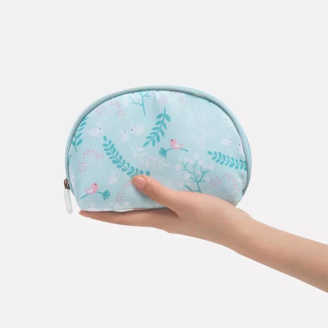 a0a3181dff3a Christmas Special! Small Shell Cosmetic Bag Travel Half Moon Makeup Bags  Zipper Handy Organizer Pouch with Pockets, Blue Flower