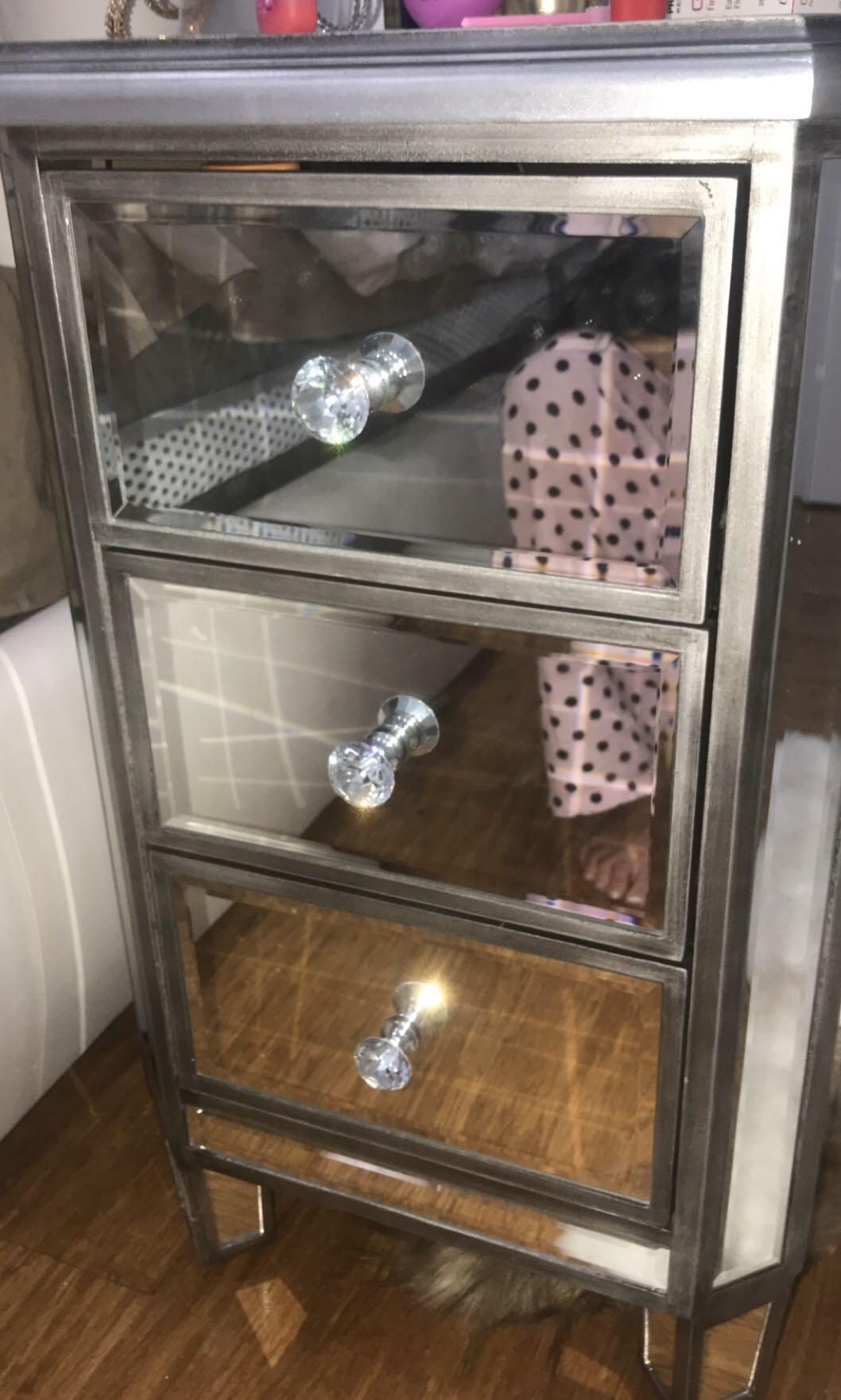 Crystal Mirrored Bedside Table