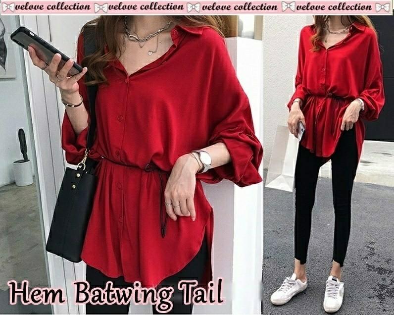 Ec Hem batwing tail navy l atasan fashion baju blouse kemeja jumbo wanita