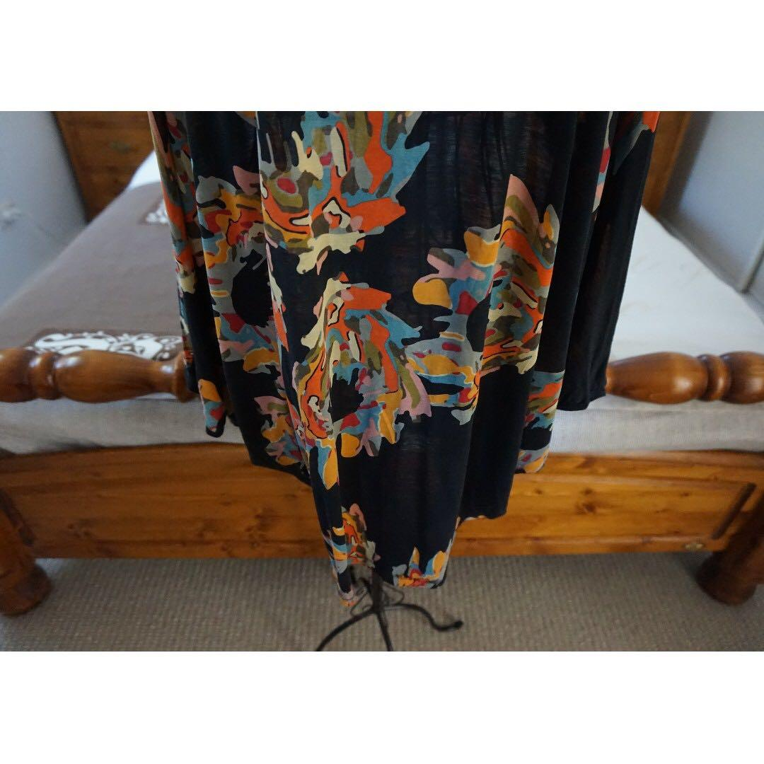 FCUK French Connection UK Multicoloured Print Batwing Tunic Size Medium RRP $69.99