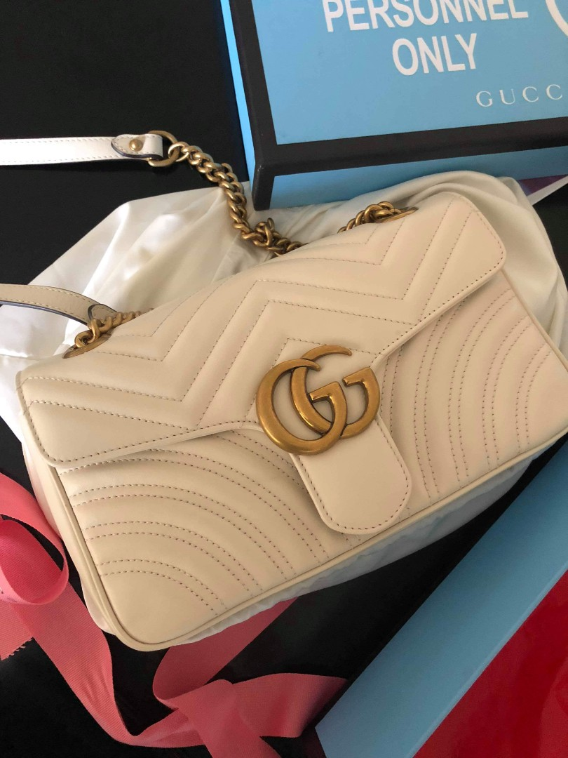 767512413 GG MARMONT MEDIUM WHITE, Luxury, Bags & Wallets on Carousell