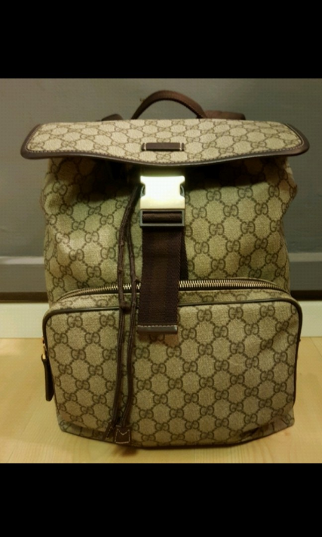 11fbd129636 Gucci backpack monogram GG Supreme Medium brown