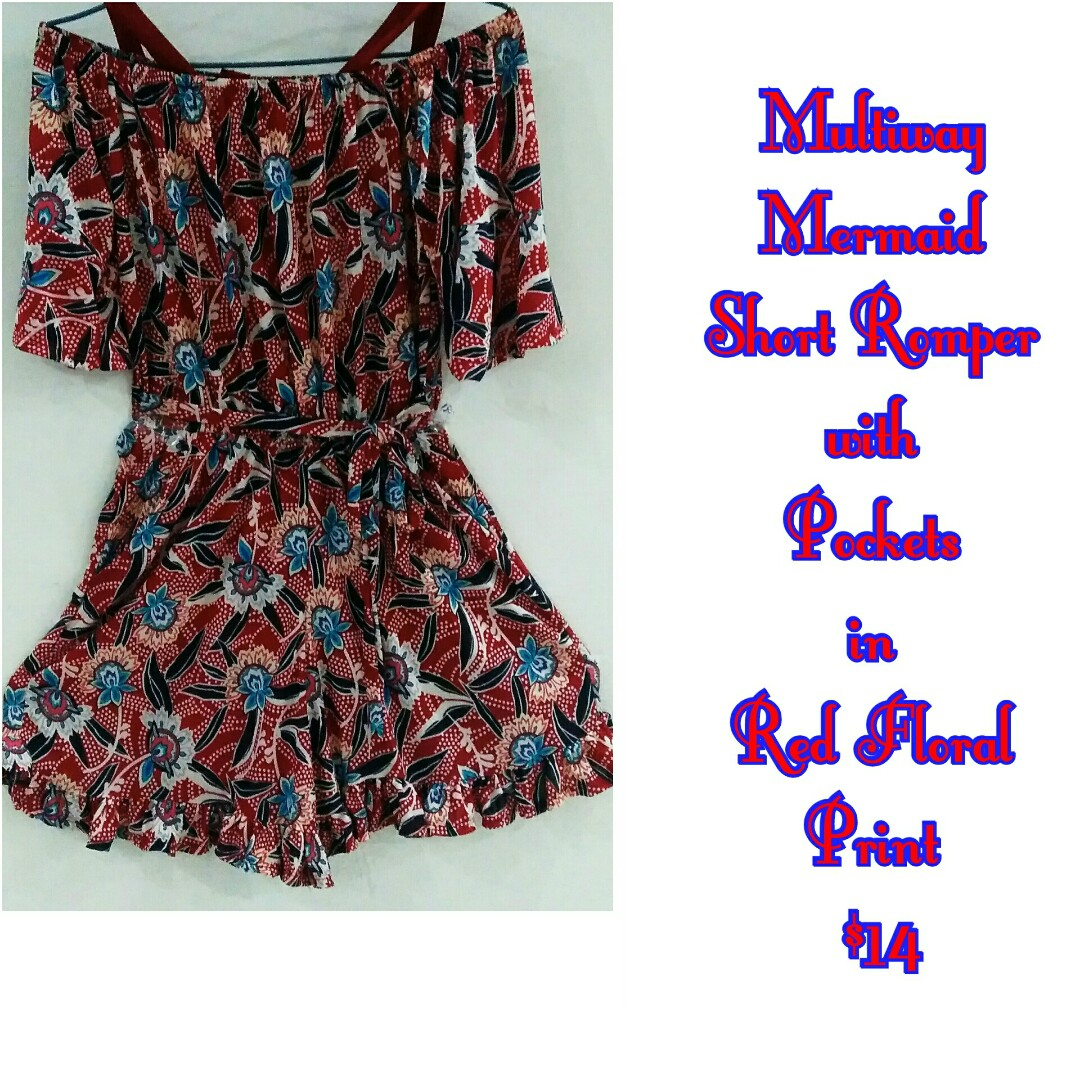 918c207e5ecf Multiway Mermaid Short Rompers with Pockets in Red Floral Print ...