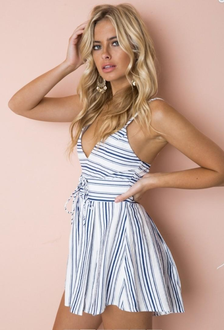 Navy white stripe playsuit size 8 brand new with tags
