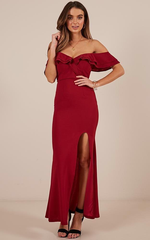 NEW Off / Cold Shoulder Maxi Formal Dress in Red Wine