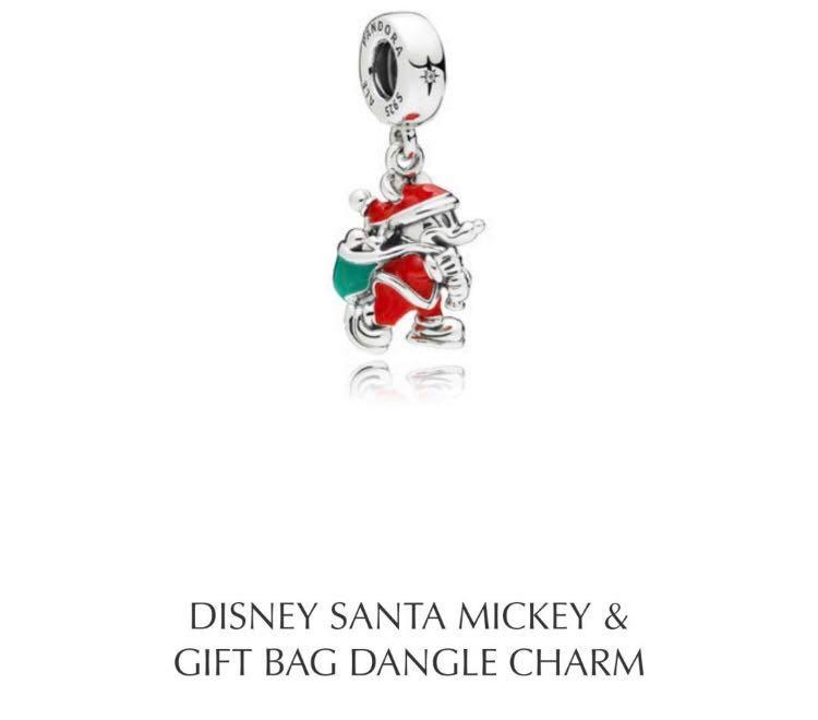 3b7897fa1 Pandora Disney Santa Mickey & Gift Bag Dangle Charm, Women's Fashion ...