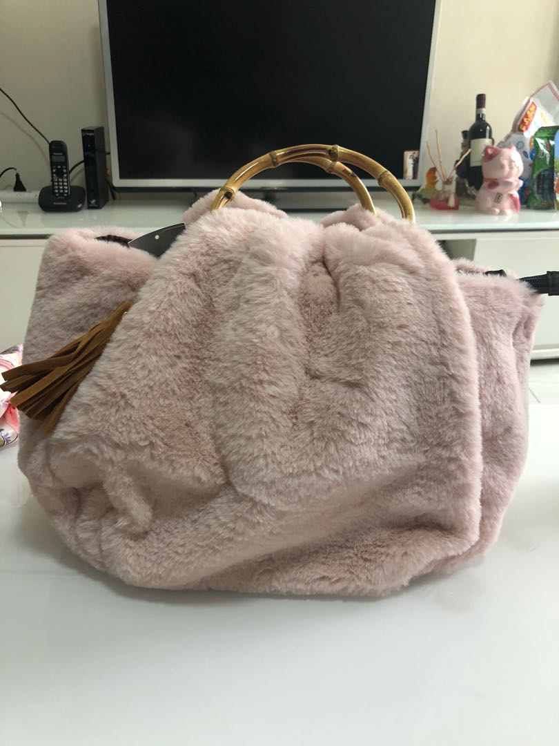 6efb56f2add5 Pink Color Furry Tote Bag