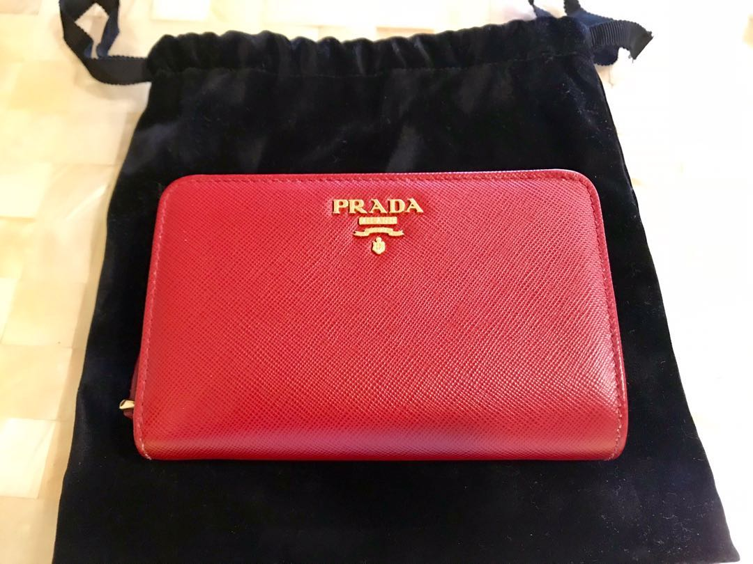 d355737cf9c2 Prada Saffiano Leather French Wallet with Coin Zip Pocket