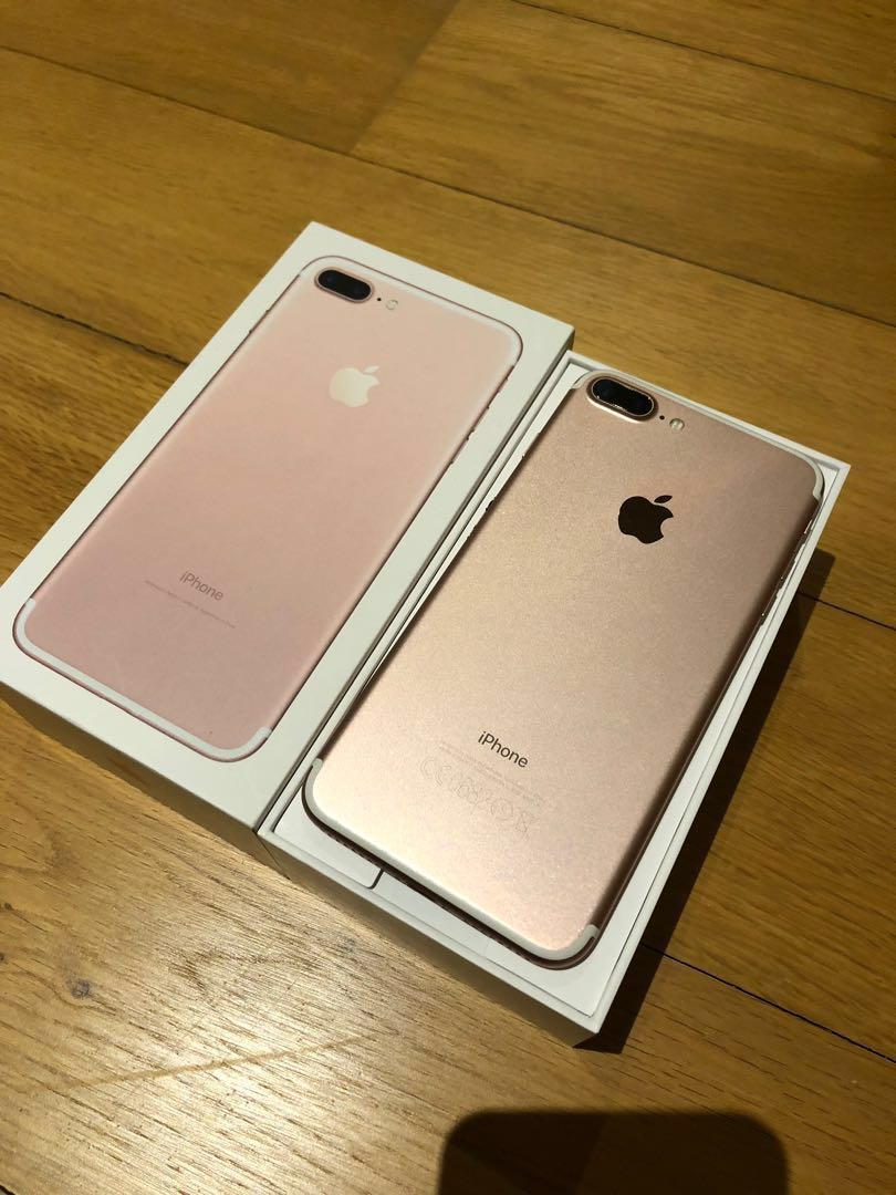 size 40 215bb 1afaa Rose gold iPhone 7 Plus 128gb w plug and cable