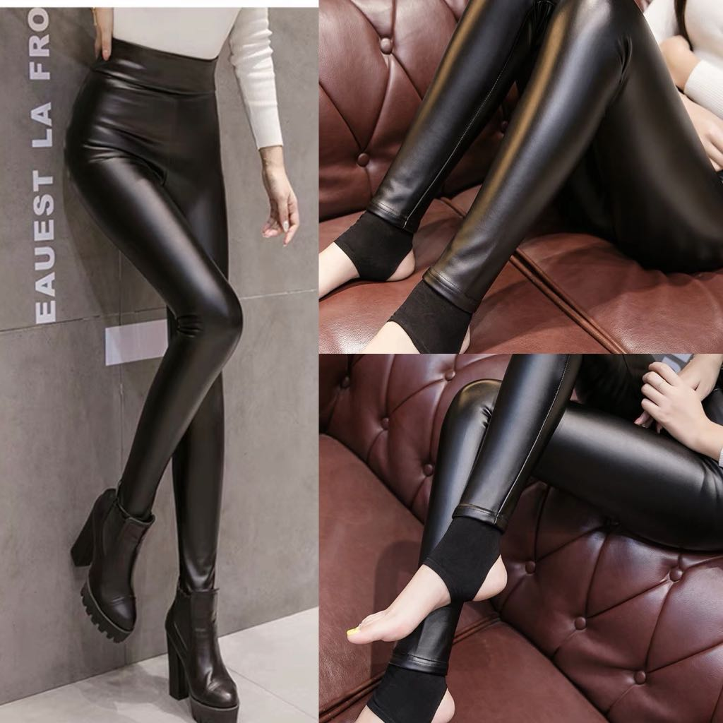 0d2d35896a S~5XL) Step on leather pants women's high waist autumn and winter ...