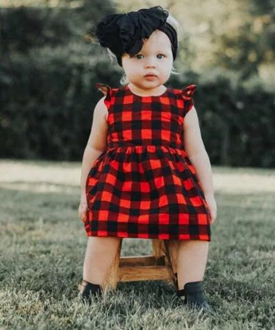 507989ce1 ✓️STOCK - CLASSIC RED PLAID GINGHAM PARTY CASUAL DRESS NEWBORN ...