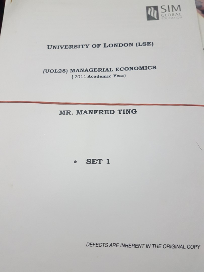 UOL Managerial Economics Lecture Notes, Books & Stationery