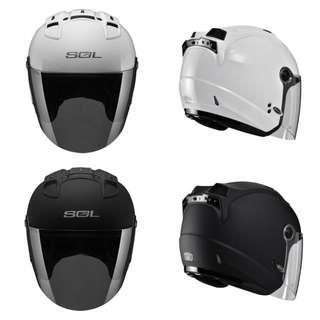 SOL 安全帽 27S SL-27S 素色 素黑 鑽石銀 3/4罩 半罩 輕量 LED燈 雙D扣 內襯全可拆洗 8折 #運費我來出 #含運最划算