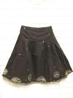 Ladies skirt in brown with embroidery n sequins. Aus size10. 12
