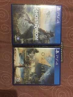 Jual kaset ps4 Assassin's creed origins n ghost recon