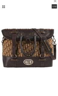 """Authentic Dior travel cavas and leather bag,85%new,good conditions Handle Drop: 5.5"""" Strap Drop: 13.5"""" (longest with bag unfolded) Height: 20""""  Length: 17"""" (measured on bottom) Depth: 8.25"""" (measured,"""
