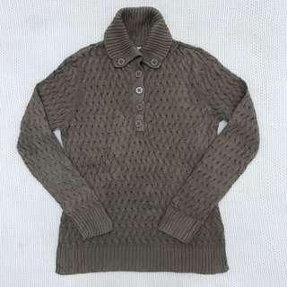 Choc Knitted Button Up Top