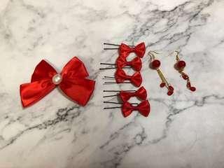 中式婚禮 新娘紅噹噹頭飾x配飾x耳環👰🏻🎉🎊🎈🎎 Bridal Chinese wedding hair accessories x earrings x jewelries (red)