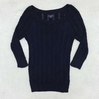 Dark Blue Knitted Sweatshirt