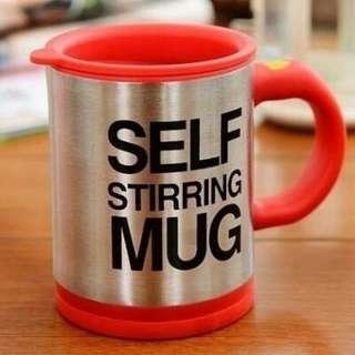 (創意禮物) 不锈鋼 自動攪拌杯, 自動攪拌咖啡杯 保溫杯 懶人杯   Self Stirring MUG (紅/黑)