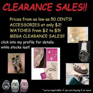 PROMOTION! CLEARANCE SALES! PRICES FROM 50CENTS!