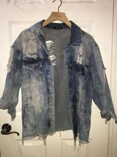 M Boutique Oversized Distressed Denim Jacket