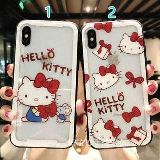 🚚 iphone 白邊KITTY玻璃殼手機殼情侶殼