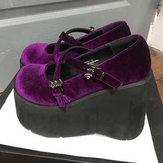 Demonia龐克風紫色絲絨瑪莉珍鞋