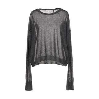 $455 HELMUT LANG 100% Cashmere Grey Distressed Crewneck Sweater jumper XS