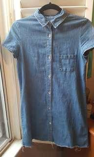 Short-Sleeves Denim Dress Zara