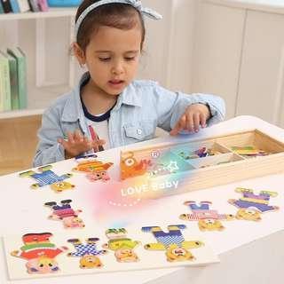 🚚 四小熊換衣服手抓穿衣配對拼圖 木製拼板