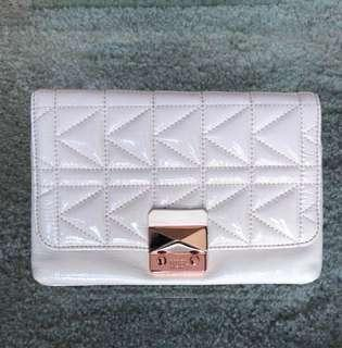 Karl lagerfield clutch beige patent rose gold detail