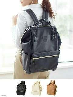 Anello black leather backpack