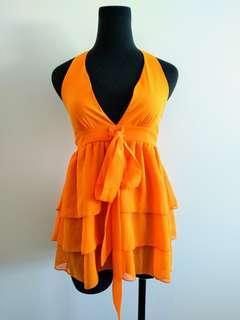 Piper lane orange halter neck Top size 8
