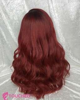 Deep red human hair wig