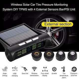 Car Tire Pressure Monitoring System TPMS w/ 4 External Sensors Bar/PSI Unit C1E3