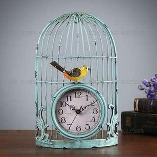 Vintage Cage Birdie Clock | Retro | Metal Cage Clock