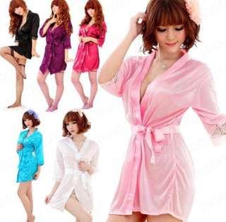 Sleepwear satin lace robe lingerie silk sleeping gown gstring