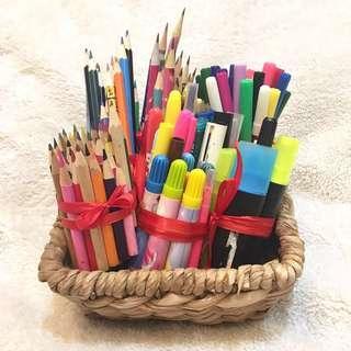 144pcs. Used Writing/Coloring/Marking Pencils & Pens