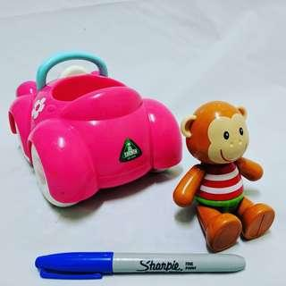 Elc toy box car & monty monkey