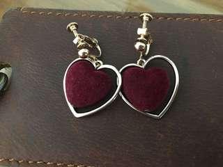 🚚 愛心 夾式耳環