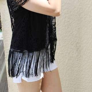 Black Fringe Top - Size M/L