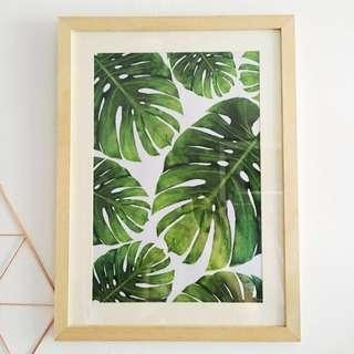 🆕Monstera Leaf Print With Frame