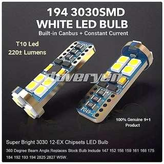 T10 W5W 192 194 White Canbus Led Osram 3030 Led Chips Surpass 200 Lumens Built-in Constant Current 恒流 No ± Polarity Guaranteed Ultra Bright Suitable For All Car & Bike Models                                   Click READ MORE For More Details